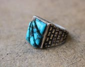 Turquoise Men's RING / Southwest Jewelry / Vintage Sterling Size 10 Men's Ring