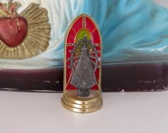 MADONNA Virgin Mary Vintage Metal Patron Saint Petite Figurines Statue- So lovely and petite