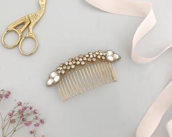 Gold wedding hair comb, Flower wedding hair comb, Crystal wedding hair comb, Leaf bridal hair comb, Flower wedding hair comb, Olivia