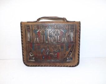 Vintage 1960s brown embossed leather Egyptian clutch handbag grab bag