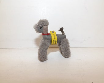 Vintage tiny Steiff grey snobby poodle dog jointed wool pompom dolls house doll soft toy with button and tag