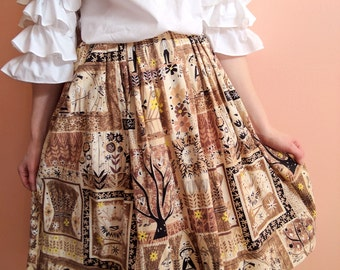1950s Skirt Novelty Print Skirt + Droopey Eye Farmers Scarecrow Harvest Barkcloth Style Full Skirt 25 waist XS SMALL