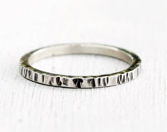 Size 7 - Hammered Sterling Silver Ring - Rustic - Simple Jewelry - Gift For Her - Gift For Mom -  Metalwork - Stacking Ring