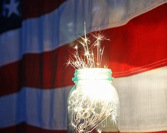 Sparkler Photograph, Independence Day Photo, American Flag Photo, Sparkler Jar Print, Farmhouse Decor, Fireworks Print, 4th of July Wall Art