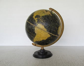 1940s Rare Globe WW2 Call Letters SWR Trade Routes Black Oceans George F. Cram Universal Terrestrial