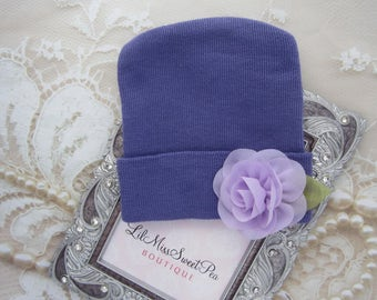 Purple Newborn Hospital Hat with a matching flower, take home hat, baby hat, perfect baby shower gift, from Lil Miss Sweet Pea Boutique