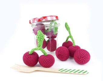 Cherry, crocheted cherry, crochet toy, baby soft toy, cherry pretend food, play pretend red fruit, children toys, summer berry (1 piece)