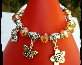 Butterfly bracelet, heart bracelet, bracelet, charm bracelet, flower bracelet, fashion bracelet