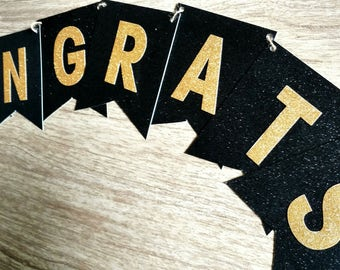 Graduation Party Banner, Black and Gold Banner, Congrats Banner, Engagement Party Banner, Bridal Shower Banner, printed and assembled