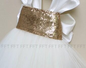 Gold Sequin Cap Sleeve Flower Girl Tutu Dress