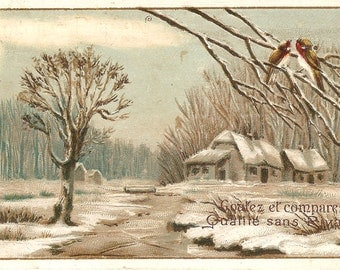 Country Home & Birds Snow Scene Antique French Christmas Trade Card, Chromolithograph, Winter View