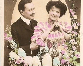 Cute Edwardian Couple in Nest with Easter Eggs Antique French Tinted Photo Postcard RPPC from Vintage Paper Attic