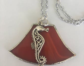 Handmade Stained Glass Necklace Jewelry, large pendant jewelry, Statement Jewelry pendant
