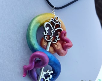 Rainbow swirl key necklace