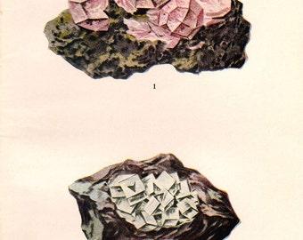 Vintage 1911 Minerals Print Antique Gems Precious Stones print gemstones print, bookplate art print, minerals wall crystal print wall art 36