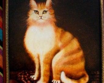 Original Oil Painting Tabby Cat