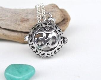 Om Necklace, Crystal Cage Necklace, Harmony Ball, Om Jewelry, Unique Om, Yoga Om, Amazonite Necklace, Tumbled Amazonite Stones, Caged Stone