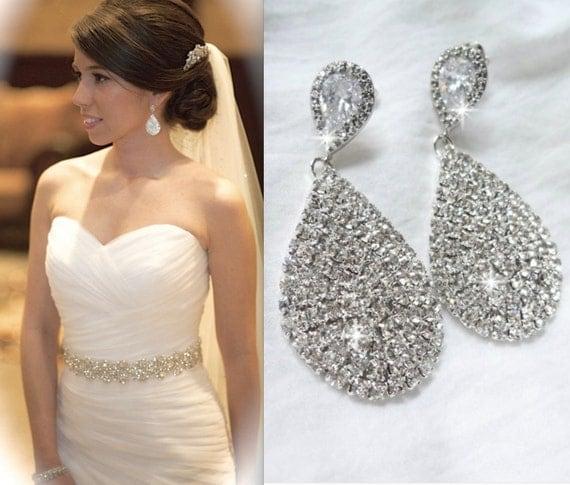 SALE ~ Crystal teardrop earrings, Brides earrings, Large crystal teardrop earrings, Sparkly,Sterling posts,Bridesmaids earrings, BEST SELLER
