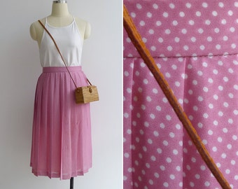 Vintage 80's Orchid Pink Polka Dot Pleated Skirt XXS or XS