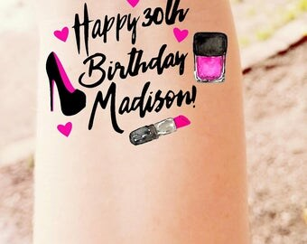 30th Birthday Temporary Tattoos Dirty 30 Makeup Make Up Lipstick Custom Tattoos Party Favor