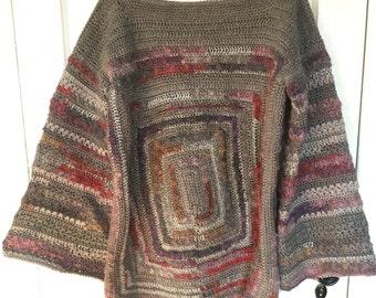 Vintage Sweater Handmade Multi-color Belled Sleeves