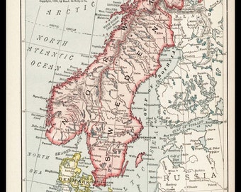 Small Map of Norway Map of Sweden Map Print (Antique Decor, 1900s Wall Art) Old Color Vintage Atlas Map  No. 155-2
