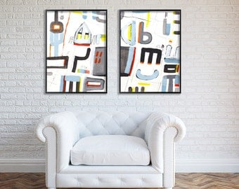 Large Abstract Art 28X40, grey painting with blue Geometric Art  mid century modern Painting wall art by Duealberi