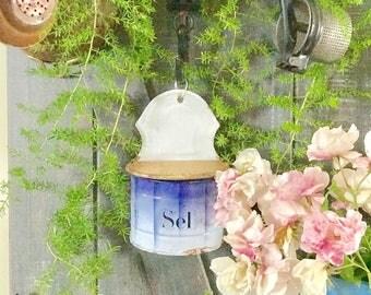 Canister Vintage French Salt Canister Sel Canister Shabby Cottage Farmhouse Decor Salt Box French Enamel