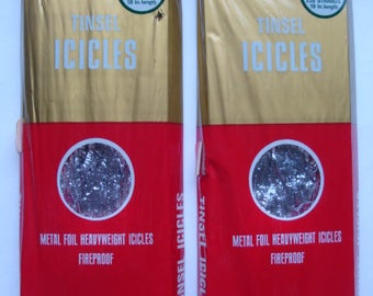 Vintage Christmas Crinkle Metal Foil Tinsel  ICICLES
