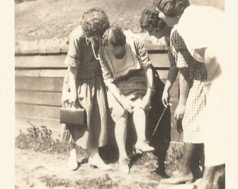 """Vintage Photo """"Rolling Her Own"""" Flappers Rolled Stockings Handwritten Caption 1920's Found VernacularPhoto"""