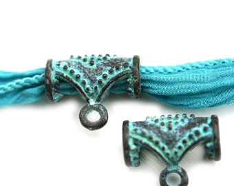 2pc Ornament Openwork Bail, Verdigris green patina on copper, Metal bail, jewelry making mykonos findings - F145