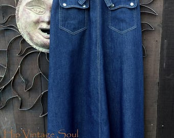 Vintage 1970's Denim Wrap Maxi Skirt, Patty Woodard Calirfornia 70's Skirt, Vintage Western Denim Wrap Skirt, Boho Chic, Mod