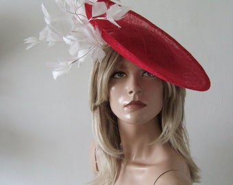 "Red White Saucer Disc + Feather Tree Hat Headpiece Fascinator ""Kay"" Kentucky Derby Ascot Horse Racing Fashion Del Mar Mother of the Bride"