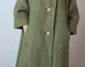 light olive MOHAIR SWING COAT 1960's 60's fur collar luxe L xl