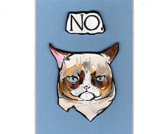 3D Grumpy Cat Matted Painting