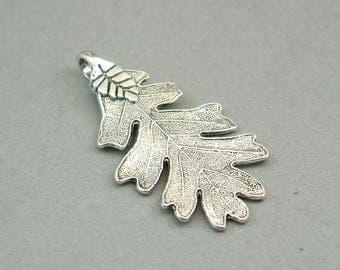 Acorn Leaf Charms Antique Silver 2pcs pendant beads 26X48mm CM0521S