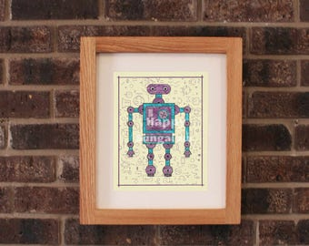 Robot Drawing for Kids, Nursery Wall Art, Boys Room Decor, Nursery Art Print, Girls Room Art, Toy Robot, Baby Boy Nursery, Geek Art Sci-Fi