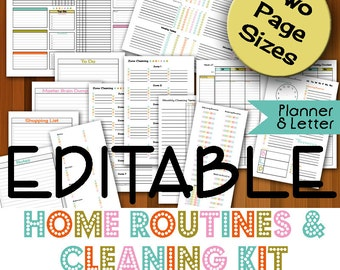EDITABLE Home Routines & Cleaning Planner Kit- PDF Printable Planner Cleaning Schedule, Cleaning Planner, Cleaning Routine, Household Binder