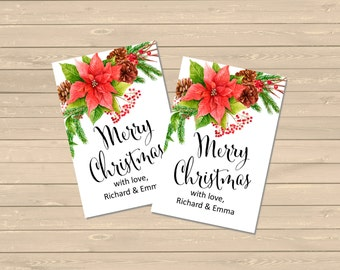 Personalised Poinsettia Christmas Gift Tags, Printable Merry Christmas Tags, Custom Christmas Hang Tags, Holiday Tags Labels Download 206-W