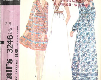 Vintage 1970s Boho Dress Pattern, Misses Dress Pattern, Maxi Dress, Mini Dress, Hippie Dress, Sleeveless, Long Sleeve, Size 16, Bust 38