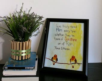 Bird Art Print - Spiritual Quote - Watercolor Birds - LDS Quote - Sunshine - Rain and Shine - Orange Birds - For Her - Home Decor - Jesus