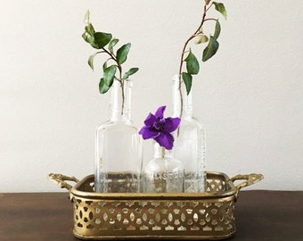 Vintage Filigree Brass Tray and Antique Bottles Display / Spring Flower Display Collection