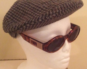 """Vintage Tweed Cap - Houndtooth - Newsboy Flat Cap - Country Classic Hat-unisex- Driving cap - Small 21"""" - 56cm"""
