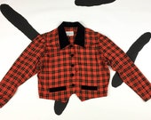 90s Red Plaid Cropped Blazer / Jacket / Velvet Collar and Details / Clueless / Size Medium / Large / Preppy / The Nanny / 90210 / The Craft