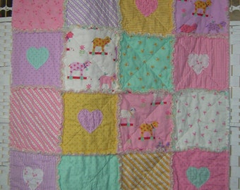 Rag quilt, throw. Pink, lilac, mint and yellow. Applique hearts. Lambs, birds, gingham. Cot quilt, baby girl blanket. Moda cotton.