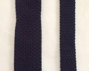 Vintage 1980s 80s Navy Chunky Wool Knit Skinny Tie by Sir Winston Ltd