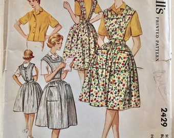 "Vintage 1960 McCall's Misses' Apron and Shirt Pattern 2429 Size 12 (32"" Bust)"