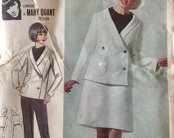 "Vintage 1960s Butterick Misses' Jacket Skirt Blouse Pants & Hat Pattern 3504 Mary Quant Size 13 (33"" Bust)"