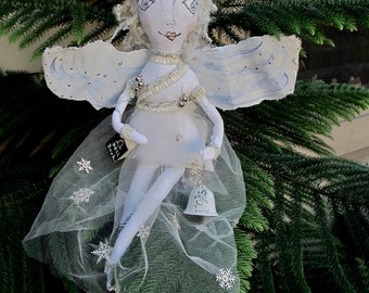 Angel rings a Bell            One of a kind cloth doll
