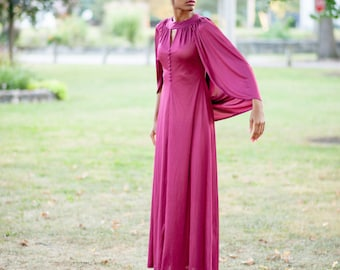 Beautiful 1980s Purple Long Silky Gown With Back Drape Small